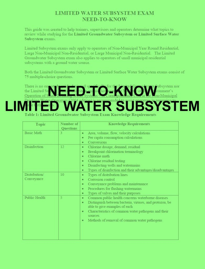 Need-to-know Limited Water Subsystem