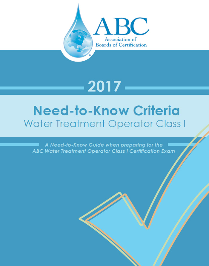 ABC Need-To-Know Criteria Water Treatment Operator Class I
