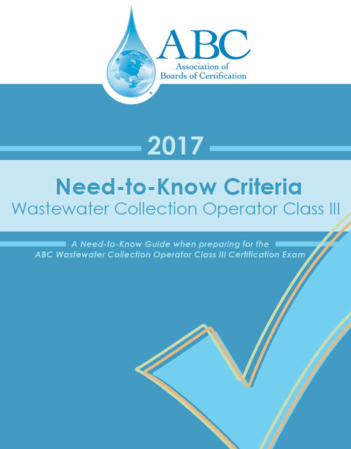 ABC Need-To-Know Criteria Wastewater Collection Operator Class III